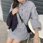 Long-sleeve Striped Mini Shirt Dress Stripe - Gray & White - One Size