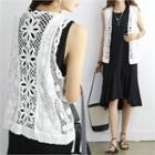 Open-front Crochet Knit Vest