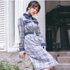 Long-sleeve Embellished Plaid Midi Shirtdress