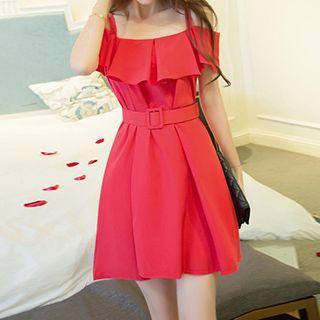 Frilled Off-shoulder Strap Dress