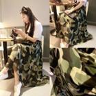 Midi / Maxi Chiffon Skirt Camo - One Size