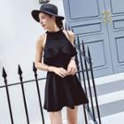 Flounced Halter Sleeveless A-line Dress