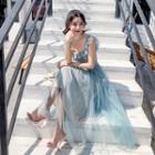 Sleeveless Ruffled Mesh Dress