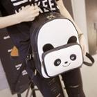 Panda Pattern Faux Leather Backpack White - One Size