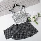 Set: Grid Print Bikini Top + Swim Skirt + Swim Shorts