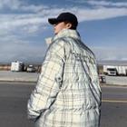 Padded Plaid Lettering Zip Jacket