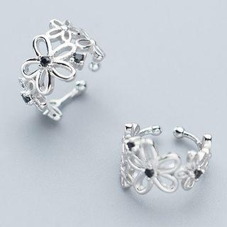 925 Sterling Silver Flower Ring 1 Pair - One Size