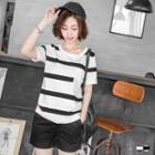 Short-sleeve Striped Pocket Tee