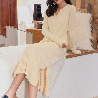 Plain Long-sleeve Rib Knit Midi Dress