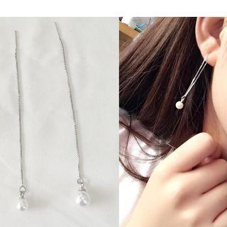 Faux-pearl Threader Earring