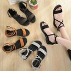 Faux Suede Cross Strap Sandals