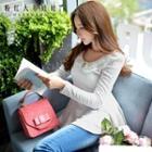 Lace-collar Long Sleeve Peplum Top
