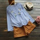 Buttoned Embroidery Striped Blouse