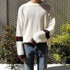 Stripe-trim Rib-knit Sweater