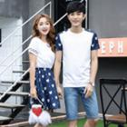 Couple Matching Printed Short Sleeve T-shirt/ Short Sleeve Dress
