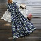 Sleeveless Floral Tie-waist Midi Dress