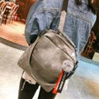 Faux-leather Pompom Backpack