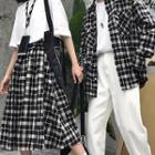 Couple Matching Plaid Shirt / A-line Midi Skirt