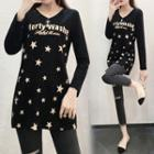 Long-sleeve Lettering Star Print Top