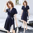 V-neck Striped Panel Short-sleeve A-line Dress