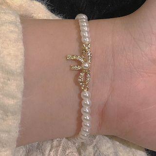 Bow Alloy Faux Pearl Bracelet Gold & White - One Size