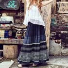 Patterned Embroidered Maxi Skirt