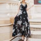 Printed Strappy Maxi Chiffon Dress