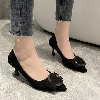 Pointed Flared Heel Buckled Pumps