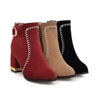 Chunky Heel Stitched Belted Short Boots
