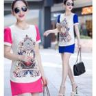 Printed Short-sleeve Chiffon Dress