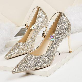 Sequined Pointed High Heel Pumps