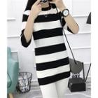 Elbow-sleeve Striped Knit Top Black - One Size