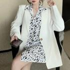 Single Breasted Blazer / Long-sleeve Dotted Shirt