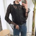 Frill Trim Long-sleeve Lace Blouse