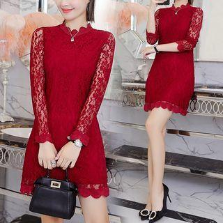 Elbow-sleeve Lace Mini A-line Dress