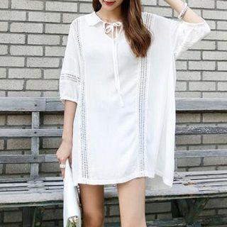 Lace-panel Collared Dress White - One Size
