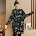 Printed Mock Neck Pullover Dress