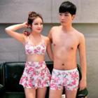 Women Set: Floral Print Bikini + Swim Skirt / Men Swim Shorts