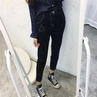 Embroidered Drop Crotch Jeans