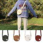 Embroidered Corduroy Crossbody Bag