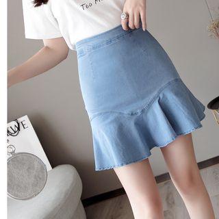 High-waist Ruffled Denim Skirt