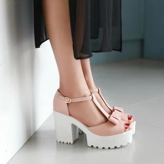 Bow Platform Chunky Heel Sandals