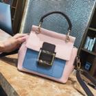 Color Block Buckled Handbag