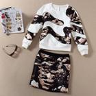 Set: Printed Sweatshirt + Mini Skirt