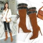 Pointed Furry-trim High Heel Tall Boots