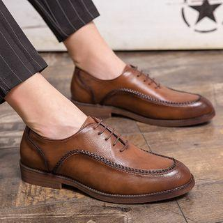 Faux-leather Braided Trim Lace-up Shoes
