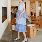 V-neck Striped Sleeveless Tiered Dress