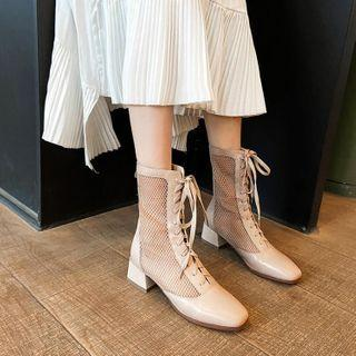 Lace Up Block-heel Perforated Short Boots
