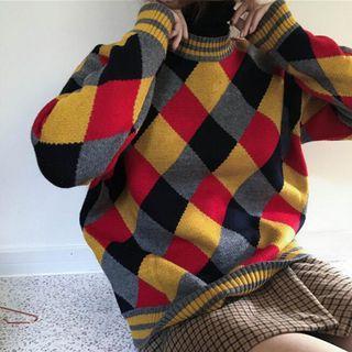 Argyle Boxy Sweater