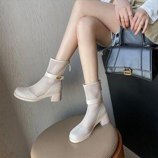 Plain Mesh Chunky Heel Short Boots